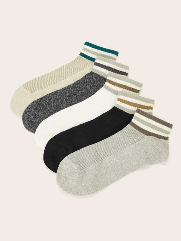 Men Striped Ankle Socks 5pairs, null