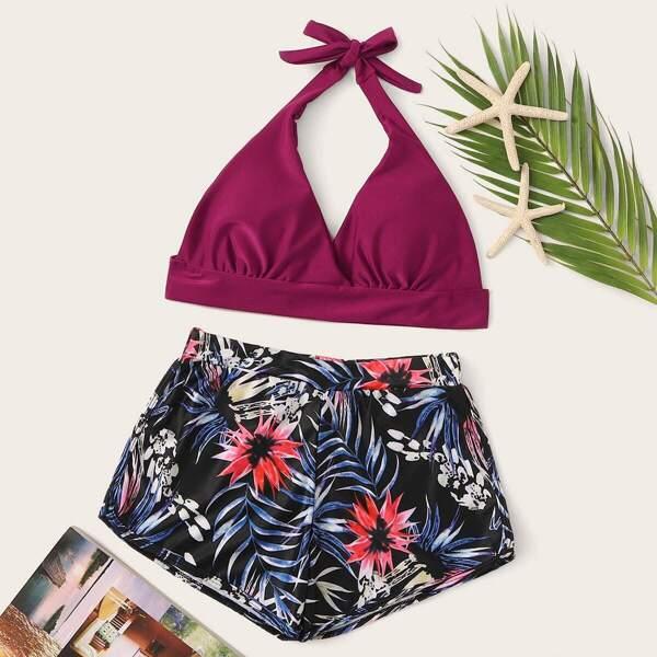 Halter Top With Random Tropical Shorts Bikini, Multicolor