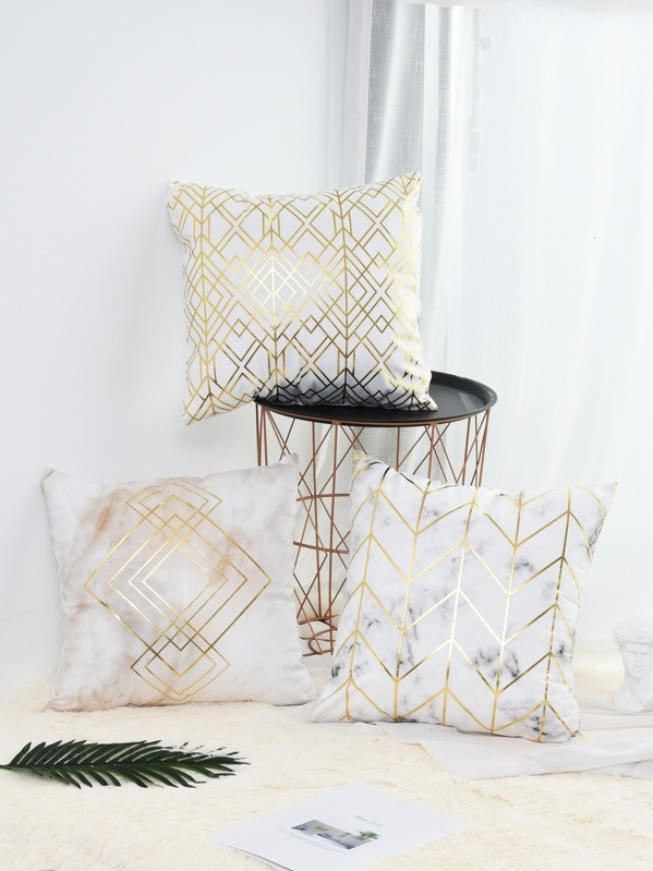 Hot Stamping Marble Pattern Cushion Cover 1pc, null