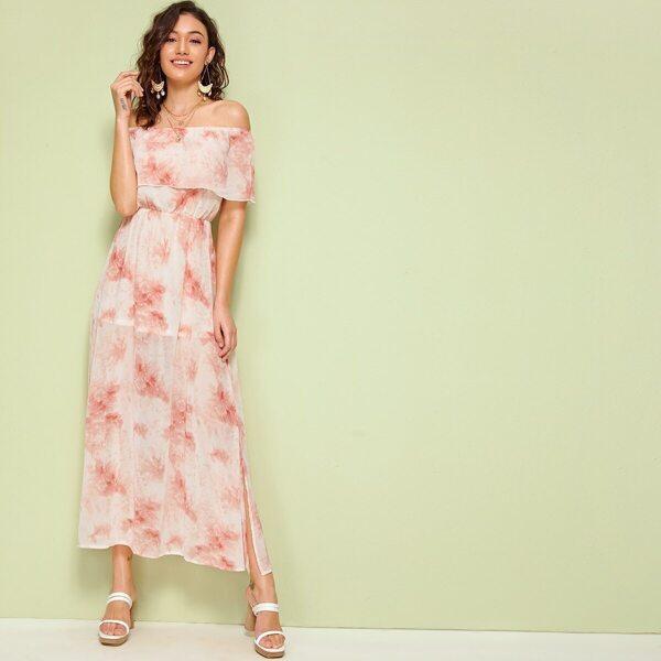 Tie Dye Foldover Front Split Side Bardot Dress, Multicolor