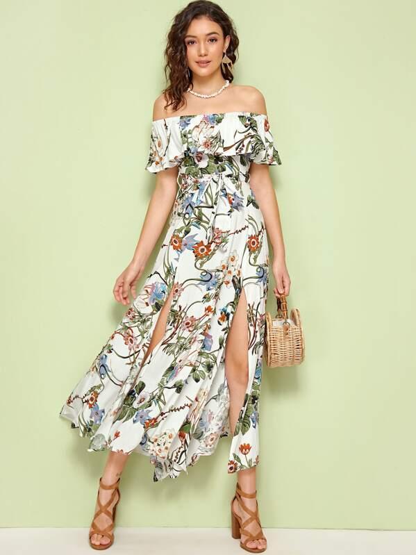 Random Botanical Print Split Thigh Belted Bardot Dress, Roberta B