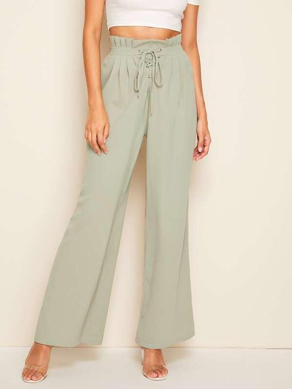 Paperbag Waist Lace-up Front Wide Leg Pants, Gabi B
