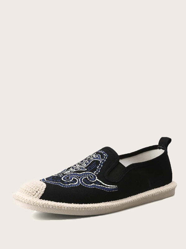 Men Embroidered Detail Espadrille Loafers, null