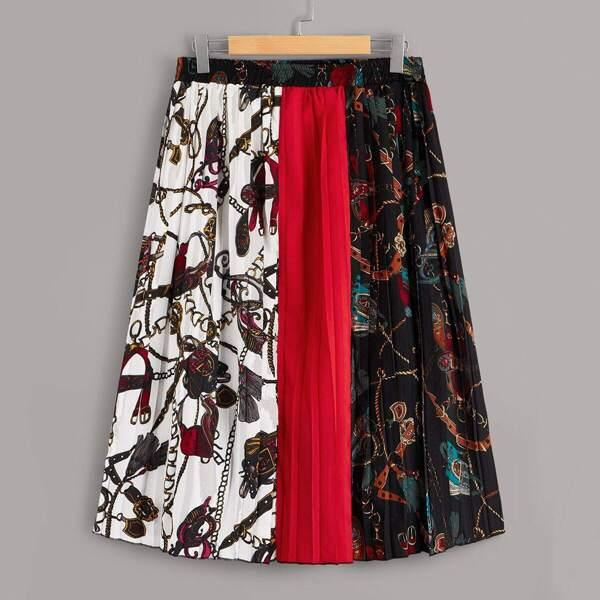Plus Chain Print Pleated Colorblock Skirt, Multicolor