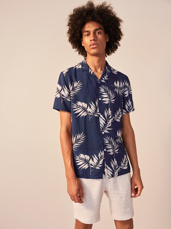 Men Revere Collar Tropical Print Shirt, Yorgary