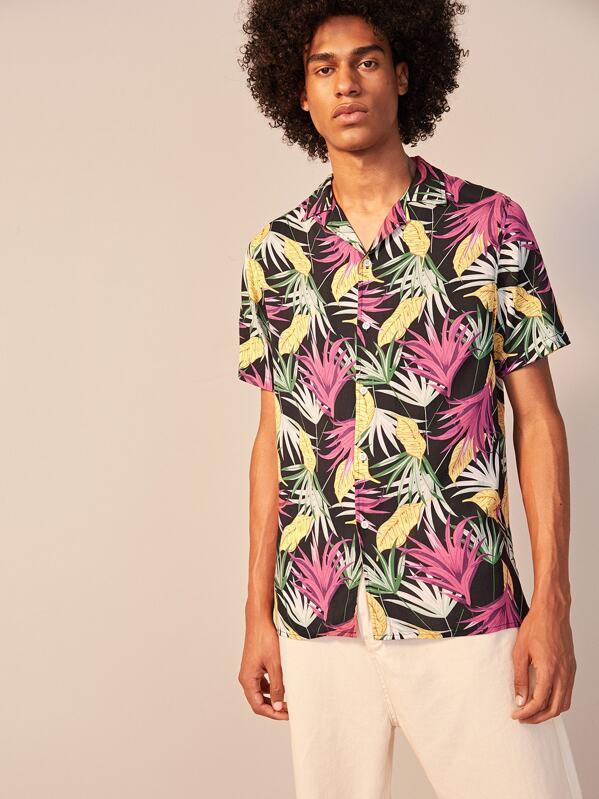 Men Allover Tropical Print Revere Collar Shirt, Yorgary