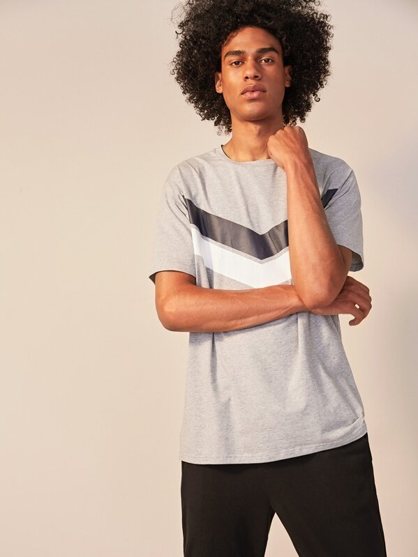 Men Heather Grey Chevron Tee, Yorgary