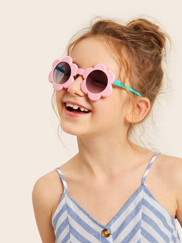 Toddler Girls Flower Shaped Frame Tinted Lens Sunglasses, null