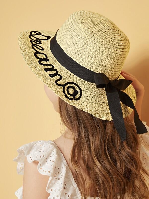 Girls Bow Knot Letter Floppy Hat, null