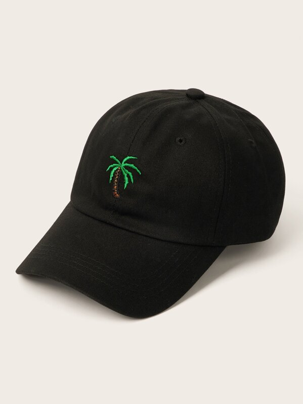 Men Coconut Tree Embroidery Baseball Cap, null