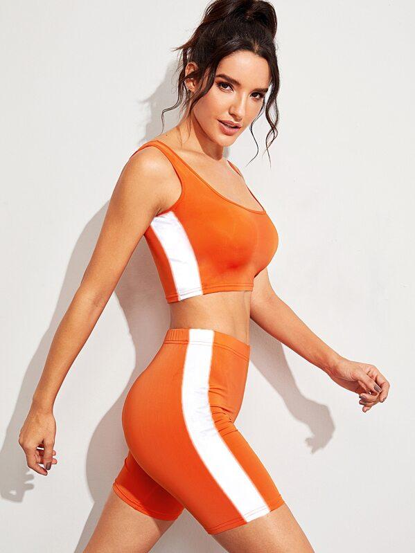 Neon Orange Reflective Striped Tank Top & Cycling Shorts, Juliana