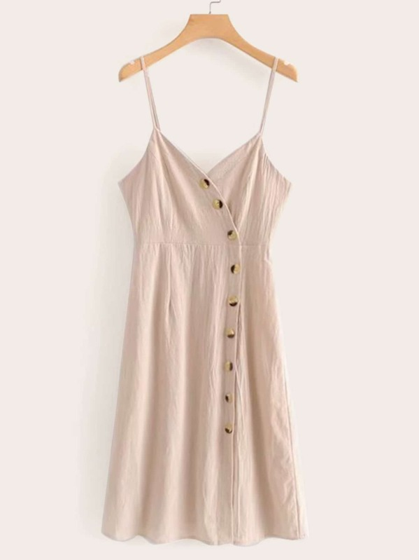 Button Front Solid Shirred Cami Dress, null