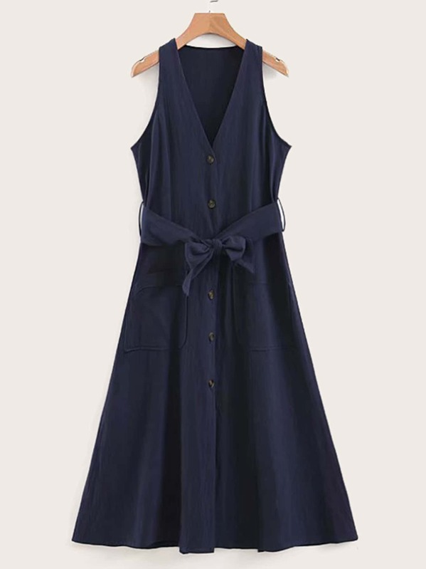 Button Front Belted Tea Dress, null