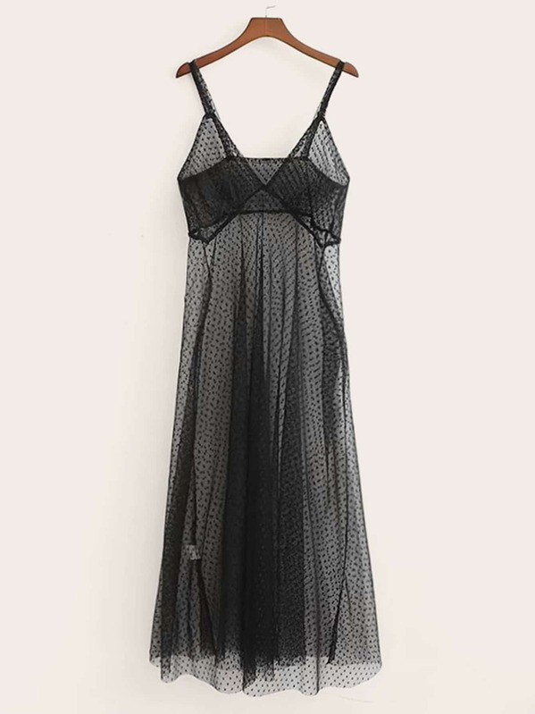 Dobby Mesh Sheer Cami Dress, null