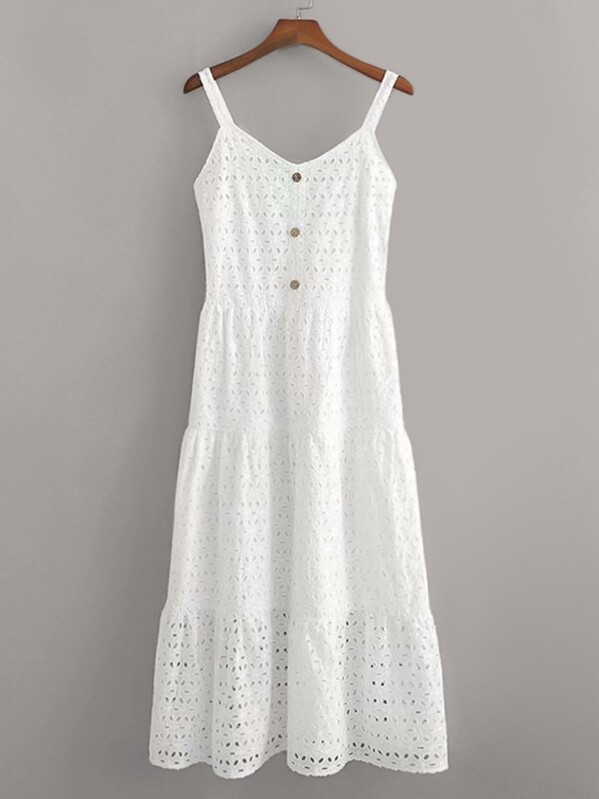 Eyelet Embroidery Button Front Cami Dress, null