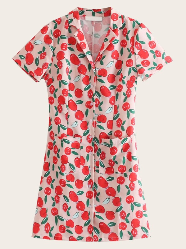 Pocket Side Apple Print Notched Collar Dress, null