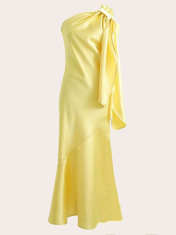 One-shoulder Ruffle Fishtail Prom Satin Dress, null