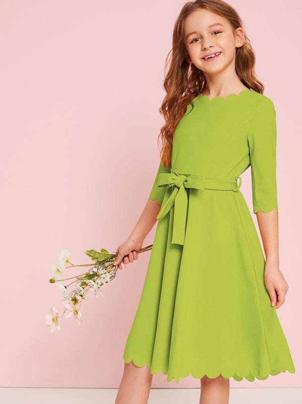 Girls Neon Lime Scallop Trim Belted Dress, Green, Sashab