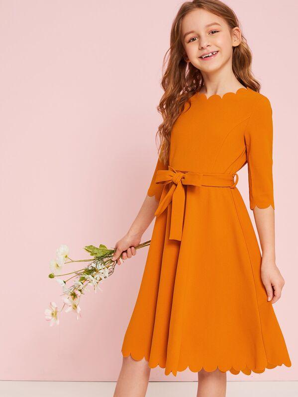 Girls Neon Orange Scallop Trim Belted Dress, Sashab