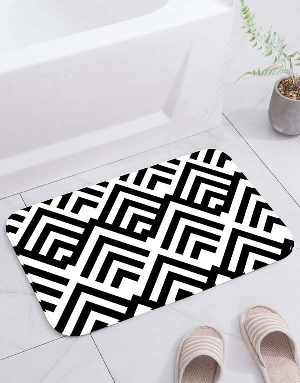 Geometric Pattern Print Floor Mat, null