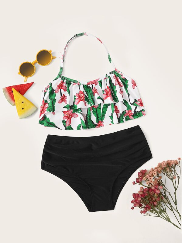 Girls Random Tropical Tiered Layer Top With Ruched Bikini, null
