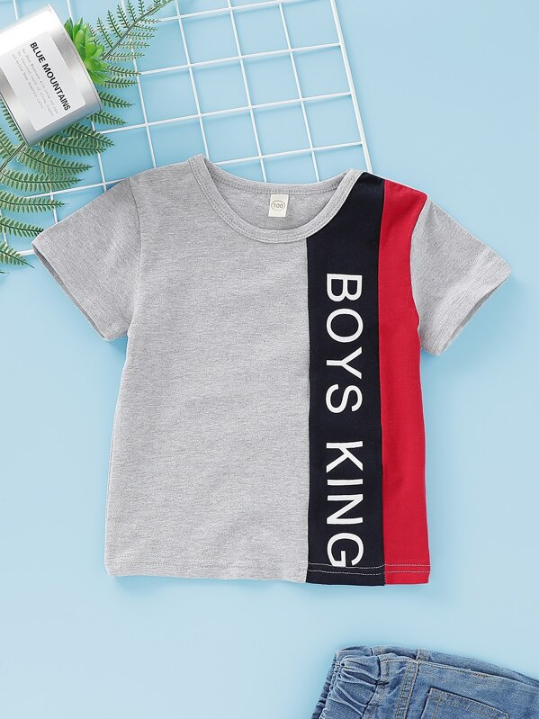 Toddler Boys Cut And Sew Panel Letter Print Tee, null