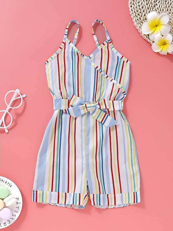 Toddler Girls Colorful Striped Belted Cami Romper, null