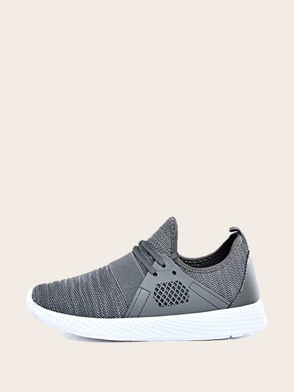 Men Lace-up Front Knit Sneakers, null