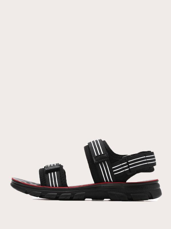 Men Striped Open Toe Sandals, null