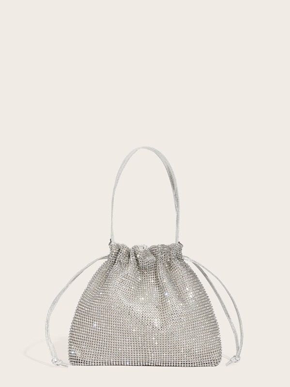 Metallic Clutch Bag With Drawstring, null