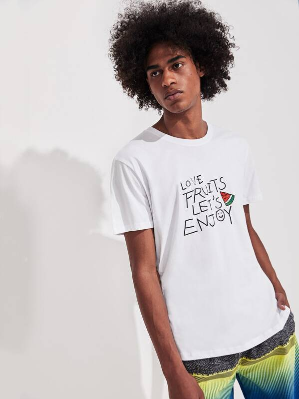 Men Watermelon And Letter Print Tee, Yorgary