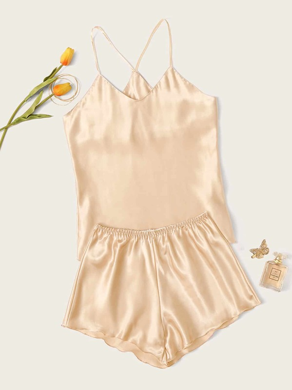 Satin Cami Top With Shorts PJ Set, null