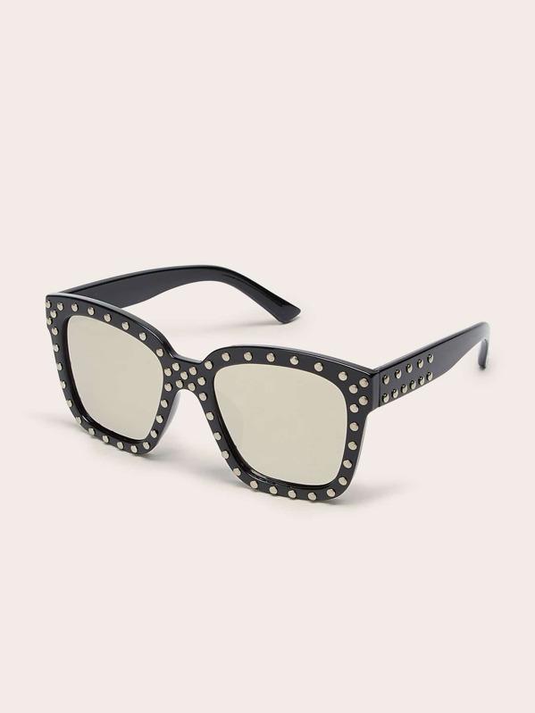 Girls Studded Decor Flat Lens Sunglasses, null
