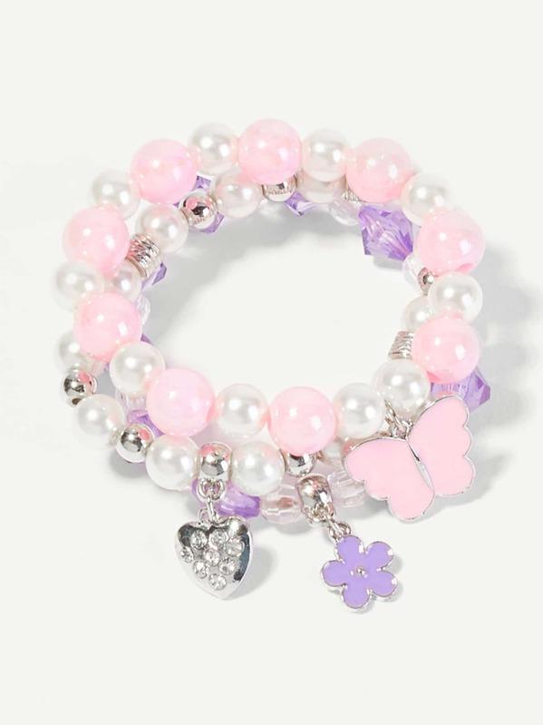 Toddler Girls Butterfly Charm Beaded Bracelet 3pcs, null