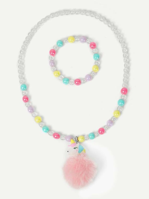 Toddler Girls Pom Pom Beaded Necklace & Bracelet 2pcs, null