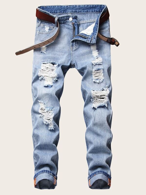 Men Ripped Jeans Without Belted, null