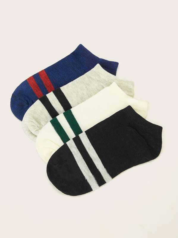 Men Striped Ankle Socks 4pairs, null