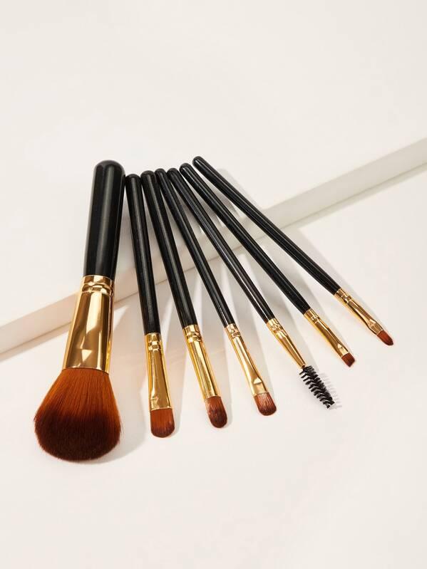 Two Tone Wooden Handle Makeup Brush 7pcs