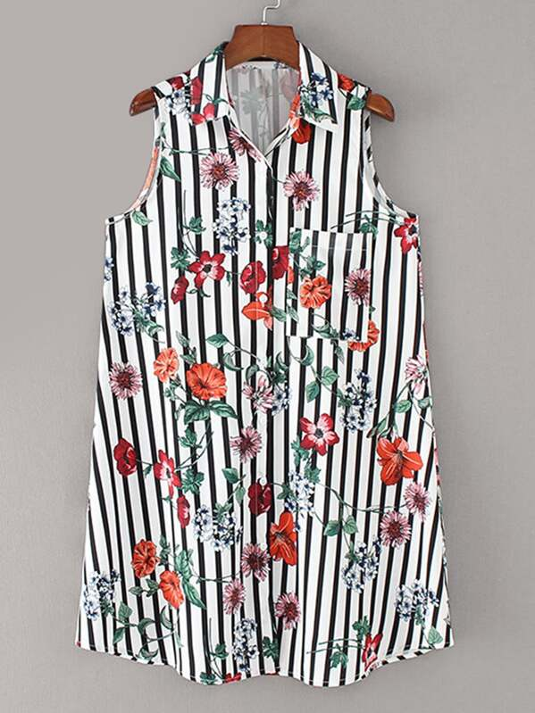 Floral Print Vertical-Striped Shirt Dress, null