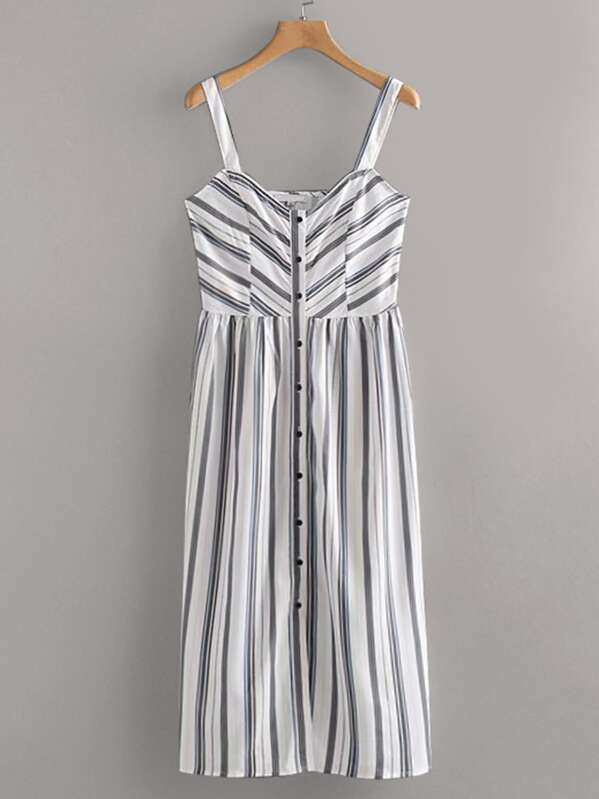 Vertical-Striped Button Front Cami Dress, null