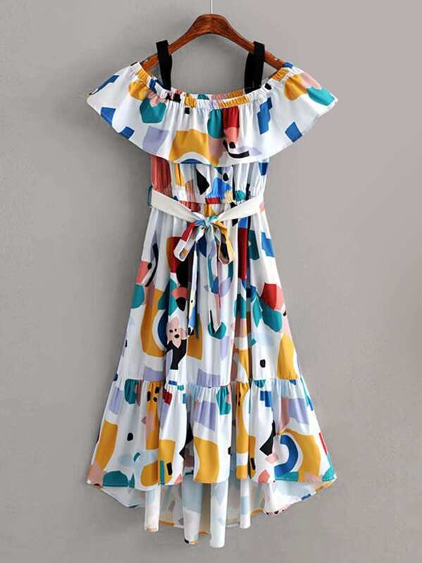 Graffiti Print Tulip Hem Belted Dress, null
