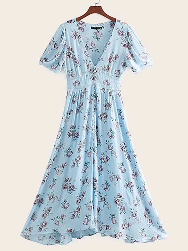 Lace Panel Ditsy Floral Print Covered Button Dress, null