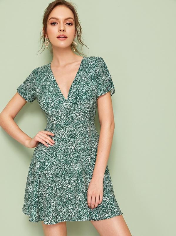 Ditsy Floral Print Zip Back Skater Dress, Green, Natalia