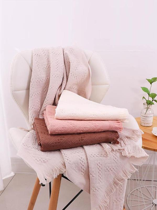 Solid Tassel Trim Bath Towel 1pc, null