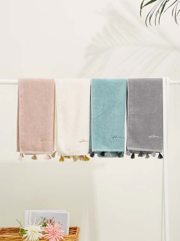 Letter Embroidery Tassel Towel 1pc, null