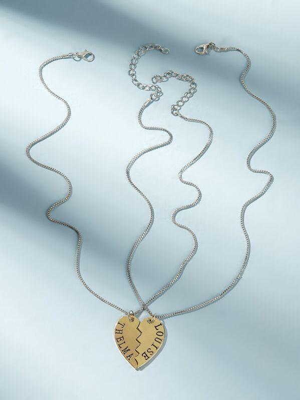Letter Engraved Half Heart Pendant Necklace 2pcs, null