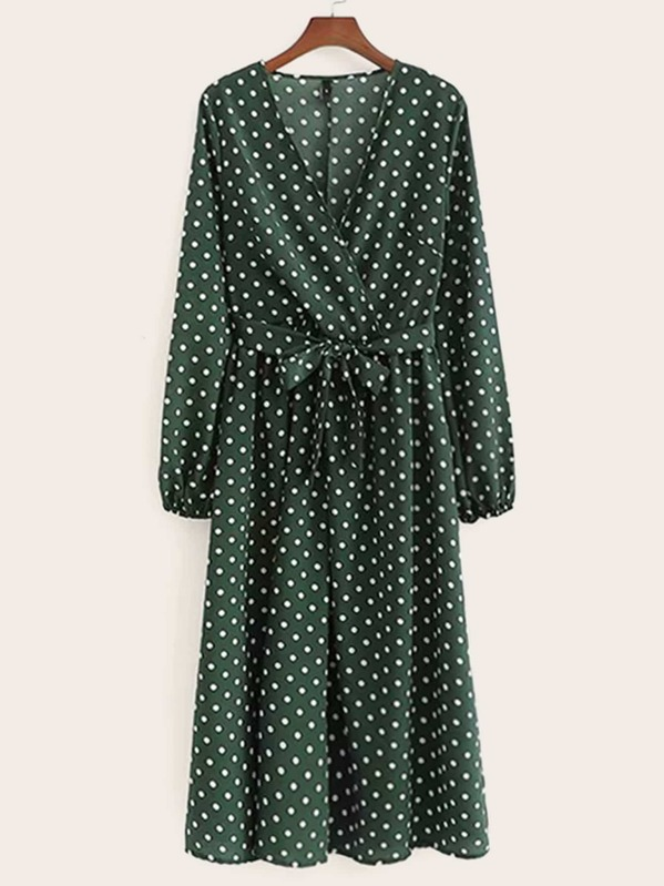 Surplice Polka Dot Self Tie Midi Dress, null