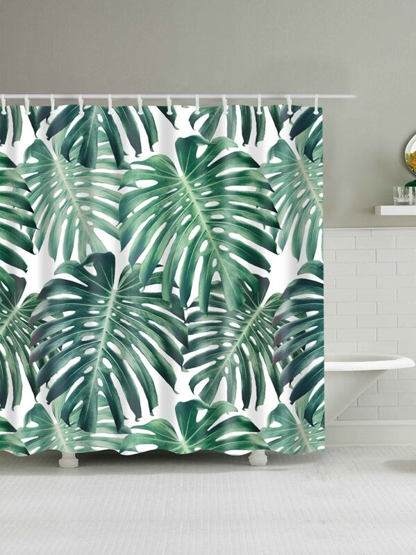 Tropical Leaf Print Shower Curtain With 12pcs Hook, null