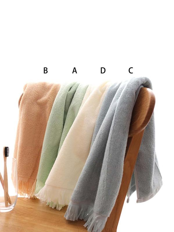 Tassel Trim Solid Towel 1pc, null