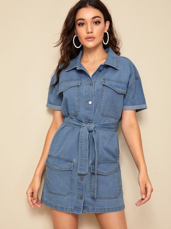 Flap Pocket Front Belted Shirt Denim Dress, Roberta B